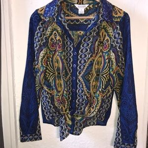ALLISON TAYLOR 💙DRIPPIN💜 BLOUSE EUC